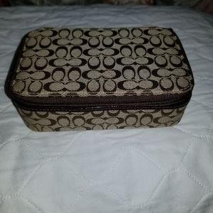 Coach signature travel jewelry case
